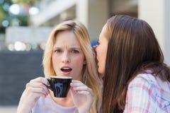 对她的朋友的深色的告诉的秘密,当喝咖啡时 免版税库存图片