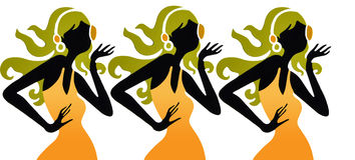 对妇女的听的音乐 皇族释放例证