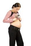 对妇女的愉快的查找怀孕 免版税库存图片