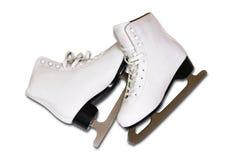 对妇女的白色形象在白色backgr滑冰隔绝 图库摄影