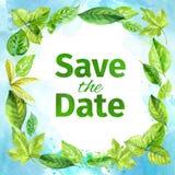 对婚礼的邀请 日期保存 水彩春天叶子框架  图库摄影