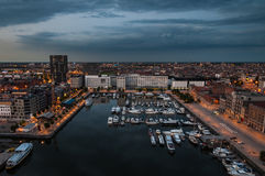 对安特卫普港口的鸟瞰图从屋顶的 库存照片