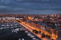 对安特卫普港口的鸟瞰图从屋顶的 免版税库存图片