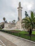 对宪法的纪念碑在卡迪士,南西班牙 库存照片