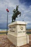 对将军格雷戈里奥Luperon的骑马雕象在普拉塔港,多米尼加共和国 图库摄影