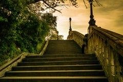 对小山的台阶 库存照片