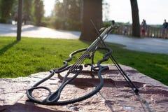 对小提琴的纪念碑在公园 库存图片