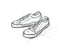 对少年体操鞋图表剪影  皇族释放例证