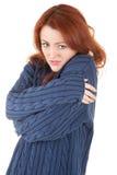 对尝试的女孩头发的保留红色温暖 库存照片
