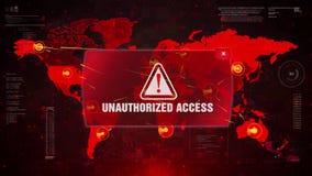 对屏幕世界地图的越权存取戒备警告的攻击 向量例证