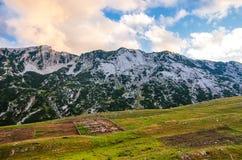 对山的美妙的看法在国家公园杜米托尔国家公园 黑山巴尔干欧洲 喀尔巴阡山脉,乌克兰,欧洲 秋天风景jn蓝天 库存照片