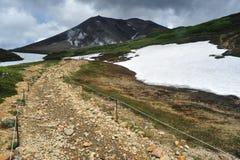 对山雪熔化的方式 免版税库存照片