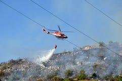 对山Castel圣彼得罗Prenestini的放火攻击  库存照片