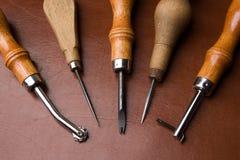 对工具工作的皮革 免版税图库摄影