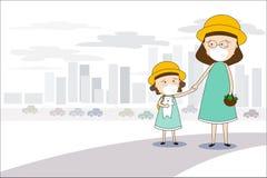 对市场的母亲和女儿步行和戴着面具N95防止空气污染在城市PM 2 5在尘土米 向量例证