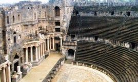 对布斯拉圆形剧场的看法叙利亚的 免版税库存照片