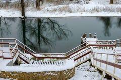 对底部的木楼梯在冬天 库存图片