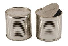 对开张使用的银色金属罐头查出白色 库存照片