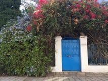 对开花的灌木包围的房子的美丽如画的入口 库存照片