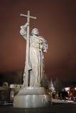 对弗拉基米尔一世・斯维亚托斯拉维奇王子的纪念碑在莫斯科 免版税库存图片