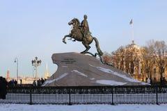 对彼得大帝的纪念碑在圣彼德堡 库存图片
