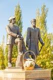 对彼得Rychkov和阿列克谢Uglitsky的纪念碑 SolIletsk 库存照片