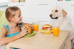对待她毛茸的朋友的小女孩与快餐 免版税库存图片