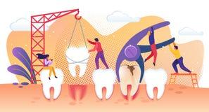 对待疾病牙的微小的人字符 库存例证