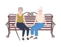 对微笑的年长妇女坐长凳和谈话 两个老妇人或朋友愉快的会议  逗人喜爱的平的女性 向量例证