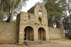 对德勃雷Berhan塞拉西教会疆土的入口在贡德尔,埃塞俄比亚 免版税库存照片