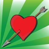 对心脏的箭头 库存图片
