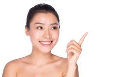 对您的愉快的护肤妇女谈话 免版税库存照片