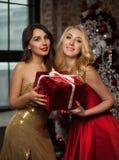 对您的新年快乐庆祝圣诞节的两个美丽的少妇与礼物和kisess 新年` s党 圣诞节 库存照片