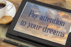 对您的梦想的薪水注意 库存照片