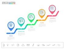 对成功概念的台阶步 与象和元素的企业时间安排现代五颜六色的尖infographics模板 免版税库存照片