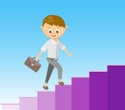 对成功的平的样式传染媒介例证楼梯在事业概念 免版税库存图片