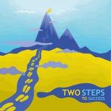 对成功-峰顶的两步 免版税库存照片