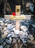 对战俘的十字架纪念品严酷的苦难通行证的, Kanchanabur 图库摄影
