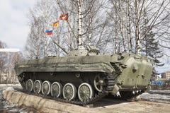 对战士国际主义者的纪念碑在市Velsk,平底船 免版税库存照片