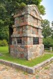 对战士的纪念碑死者的在岁月第一次世界大战,从一块被砍成的石头的一块方尖碑 库存照片