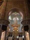 对扎耶德Mosque,阿布扎比,阿拉伯联合酋长国回教族长的内部看法 库存照片