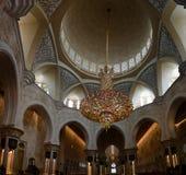 对扎耶德Mosque,阿布扎比,阿拉伯联合酋长国回教族长的内部看法 库存图片
