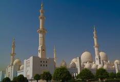 对扎耶德Mosque,阿布扎比,阿拉伯联合酋长国回教族长的外视图 库存图片