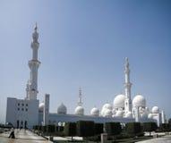 对扎耶德Mosque,阿布扎比,阿拉伯联合酋长国回教族长的外视图 库存照片