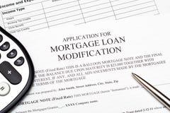 对抵押贷款修改的申请 库存照片