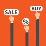 对按钮买的,销售和百分之,传染媒介的商人手 皇族释放例证