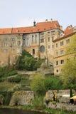 对捷克克鲁姆洛夫,捷克历史的城堡的看法- 图库摄影