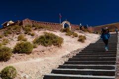对教会的楼梯 Machuca村庄 San Pedro de Atacama 安托法加斯塔地区 智利 免版税库存图片