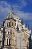 对教会的特写镜头在罗兹,波兰 库存图片