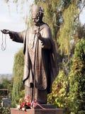 对教宗若望保禄二世Karol Wojtyla的纪念碑 库存图片